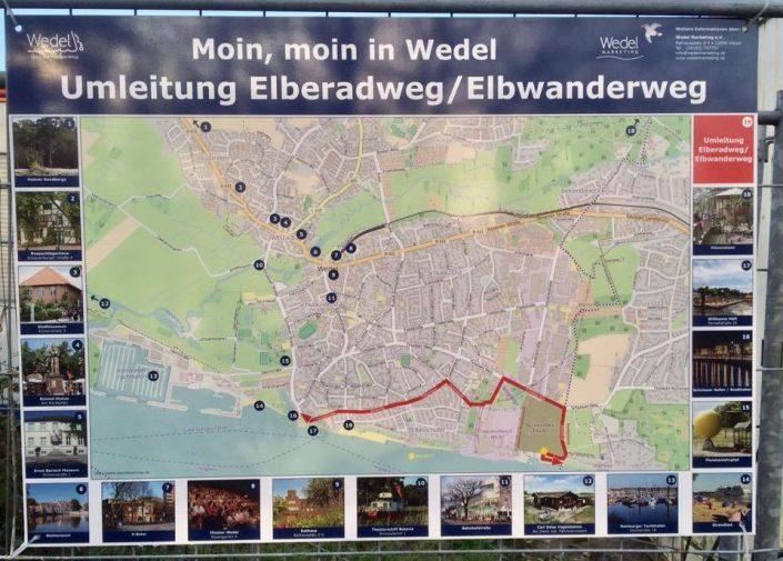 2016 11 12 Wedel Elbe Elbwanderweg Nachmittagsspaziergang Schild Umleitung Elberadweg Elbwanderweg