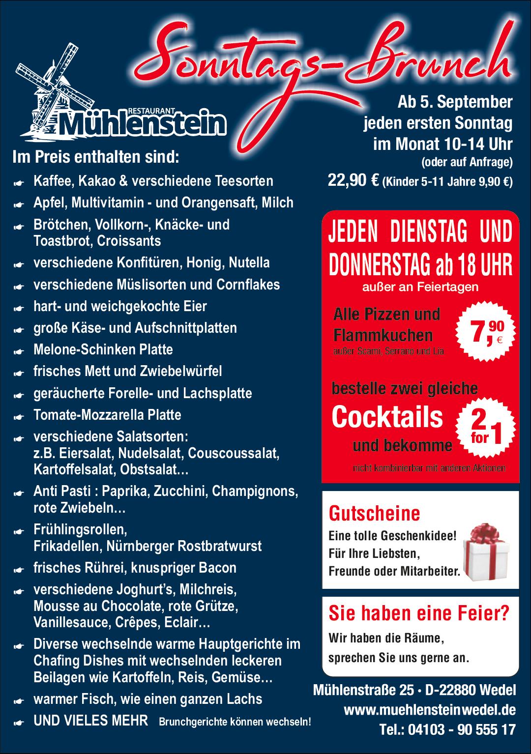 Restaurant-Wedel-Mühlenstein-Burger-Pizza-Brunch-Sonntags-Brunch